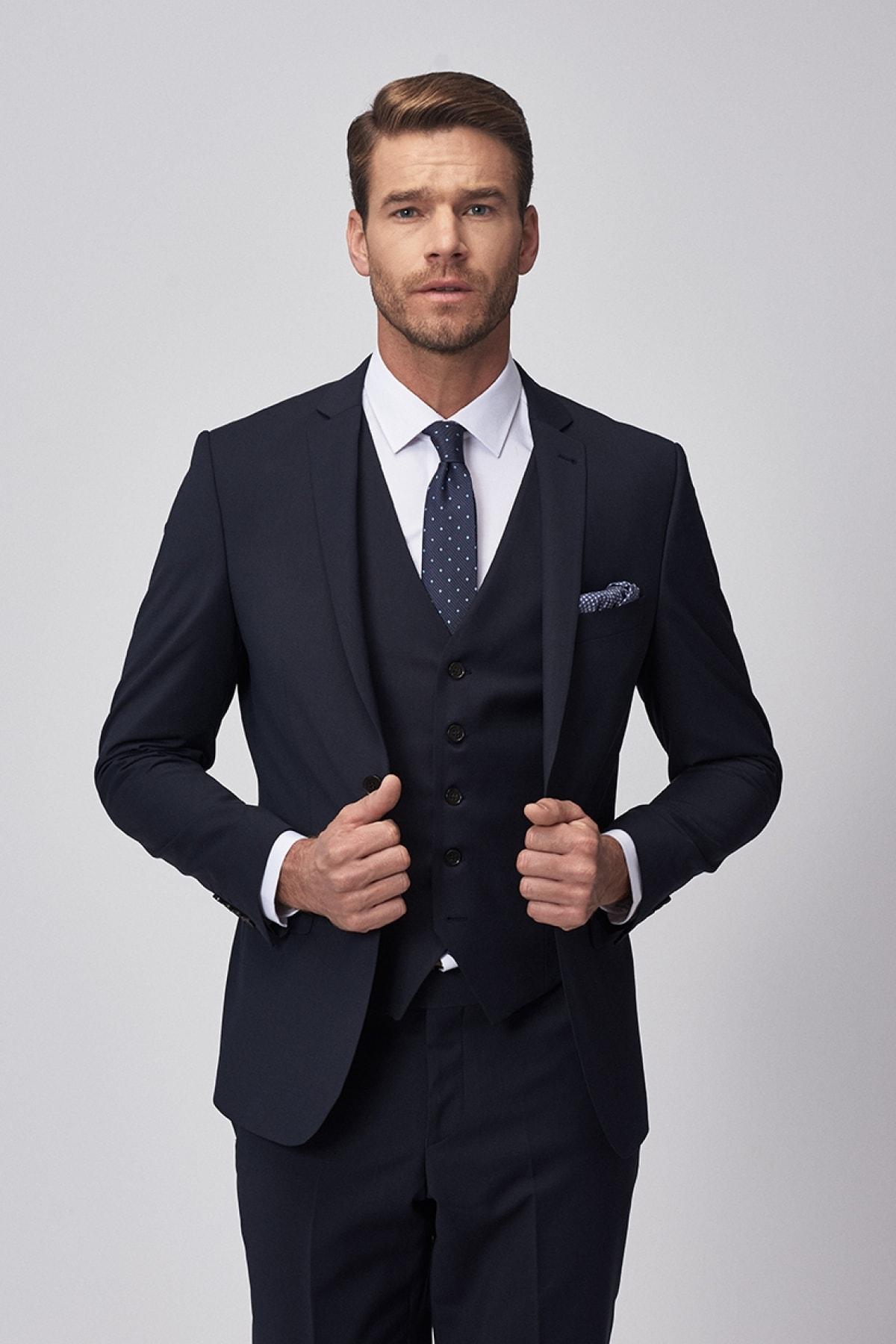 Erkek Lacivert Slim Fit Dar Kesim Düz Lacivert Su Geçirmez Yelekli Nano Takım Elbise
