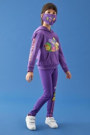 Defacto Kız Çocuk Mor Kral Şakir Lisanslı Kapüşonlu Sweatshirt 0