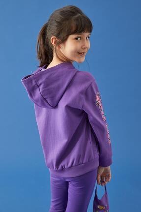 Defacto Kız Çocuk Mor Kral Şakir Lisanslı Kapüşonlu Sweatshirt 3