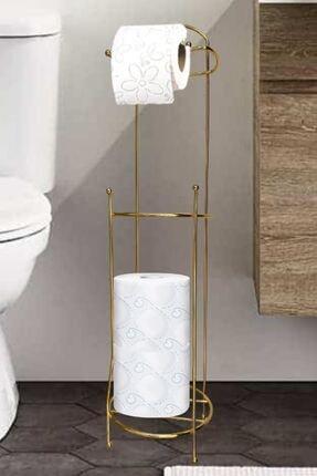 Vipsepet Gold Ayaklı Tuvalet Kağıtlığı Wc Kağıtlık Yedekli Tuvalet Paslanmaz Çelik Yedekli Tuvalet Kağıtlığı 0