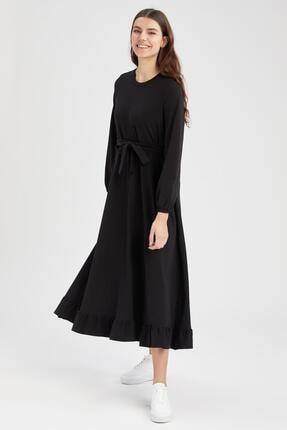 Kuşaklı Uzun Kollu Maxi Elbise U6144AZ21SM