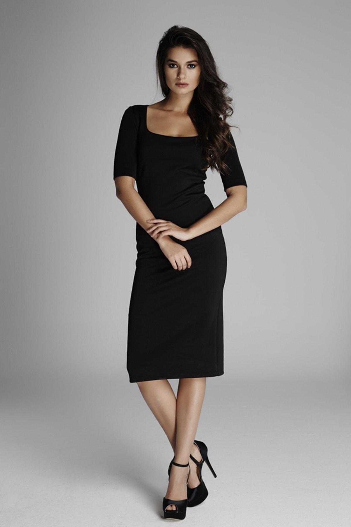 Kadın Siyah Balerin Yaka Yırtmaçlı Kalem Elbise