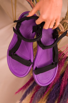 Soho Exclusive Mor-Siyah Kadın Sandalet 16196 3
