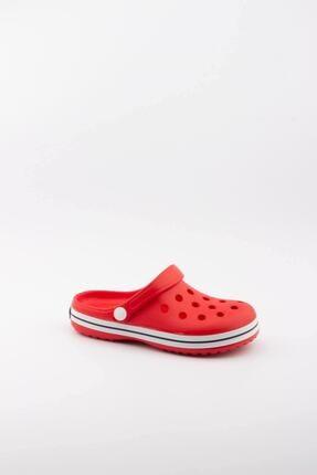 Akınalbella Çocuk Kırmızı Beyaz Şeritli Crocs Terlik 1