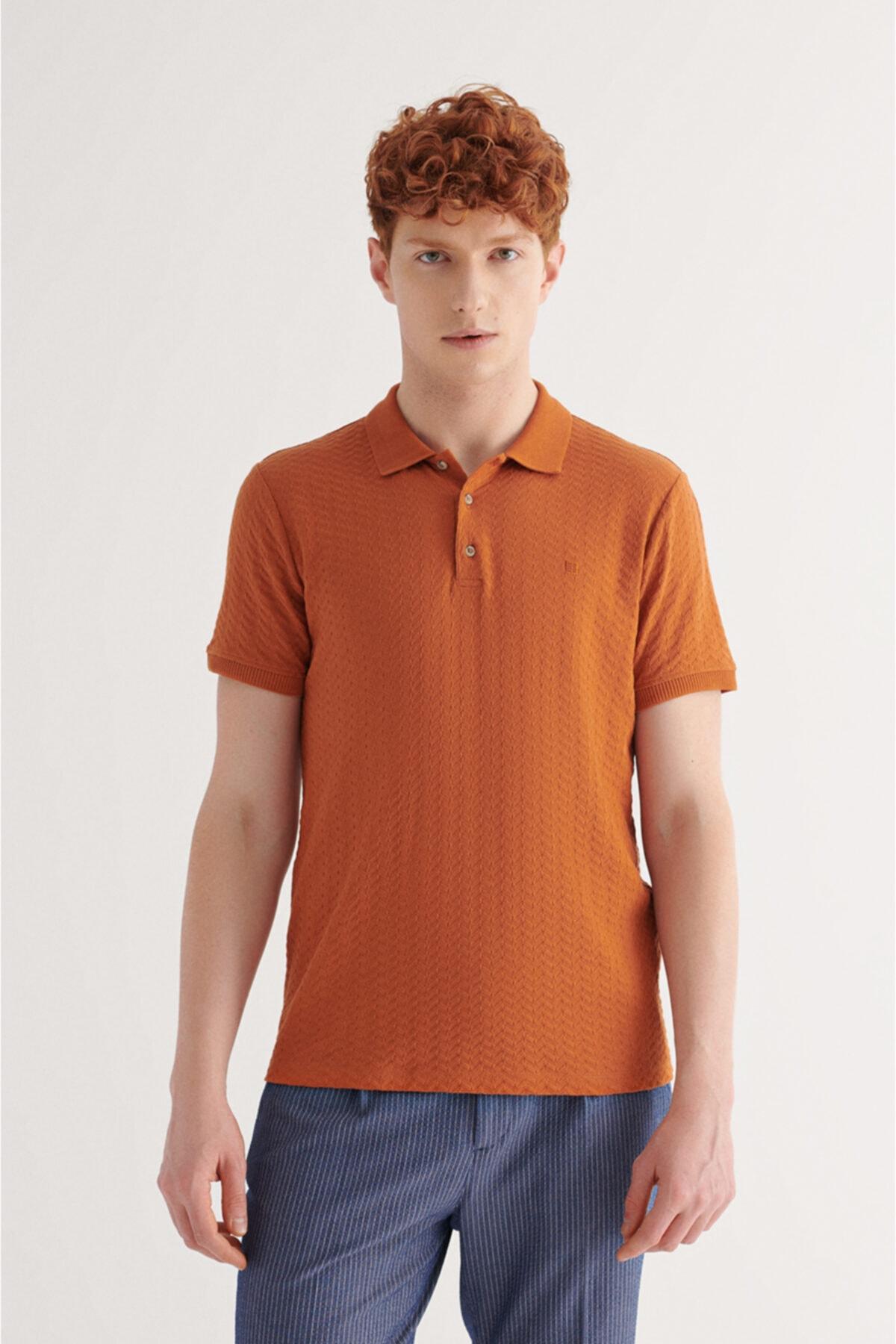 Erkek Kiremit Polo Yaka Jakarlı T-shirt A11y1101