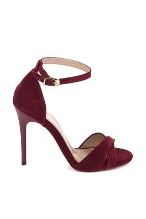 Fox Shoes Kadın Bordo Süet Topuklu Ayakkabı 7749113702 2