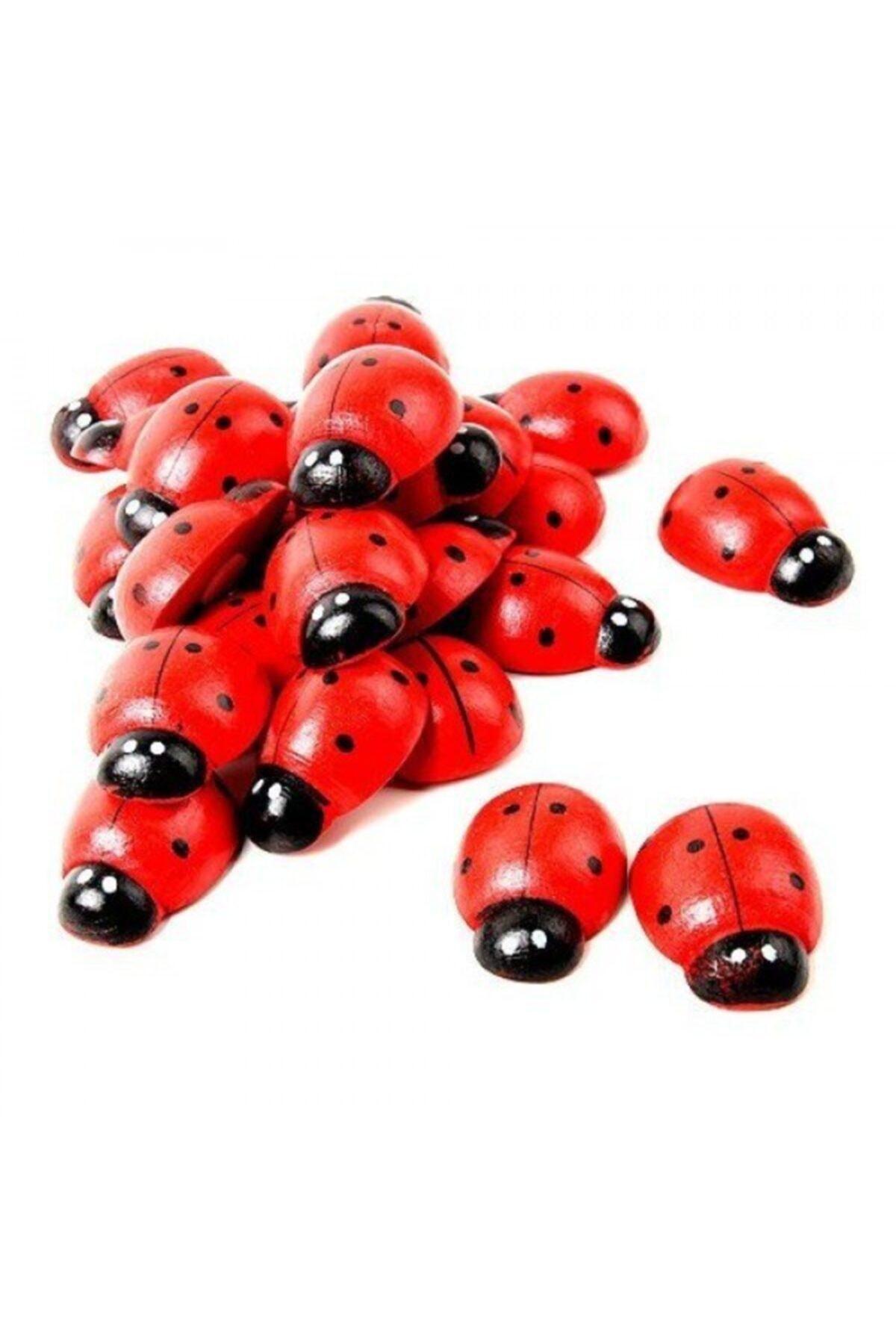 Kırmızı Uğur Böceği 100 Adet Dekor Uğur Böceği Desenli Süs Parti Malzemesi