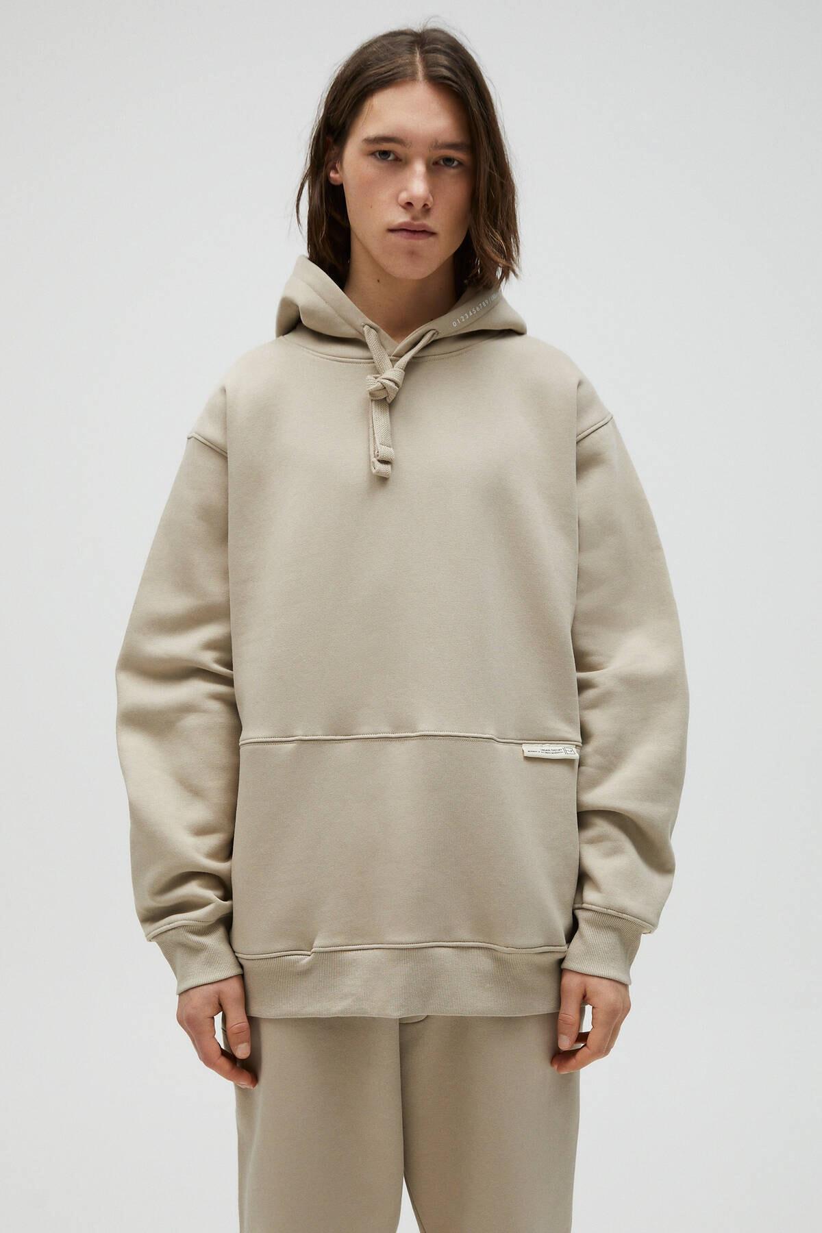 Pull & Bear Erkek Kum Rengi Kapüşonlu Oversize Sweatshirt 04591560 0