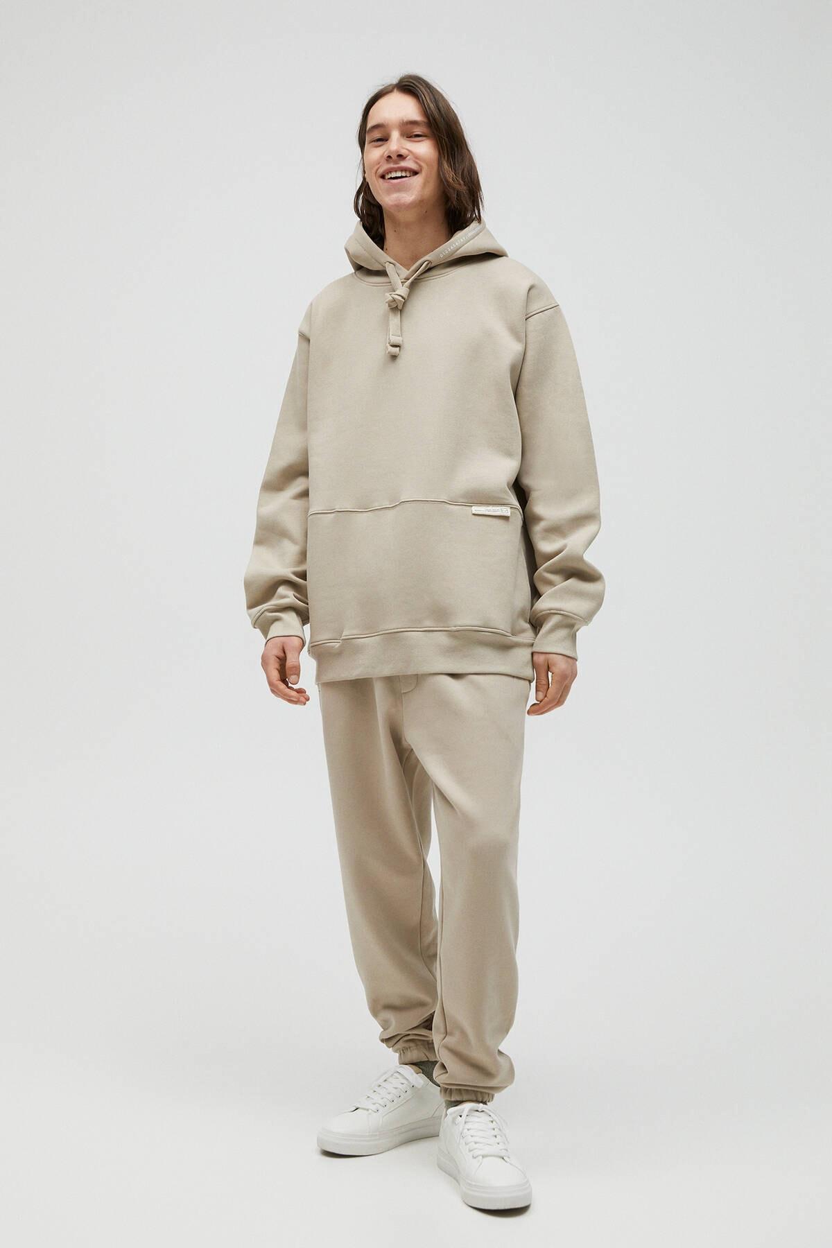 Pull & Bear Erkek Kum Rengi Kapüşonlu Oversize Sweatshirt 04591560 2