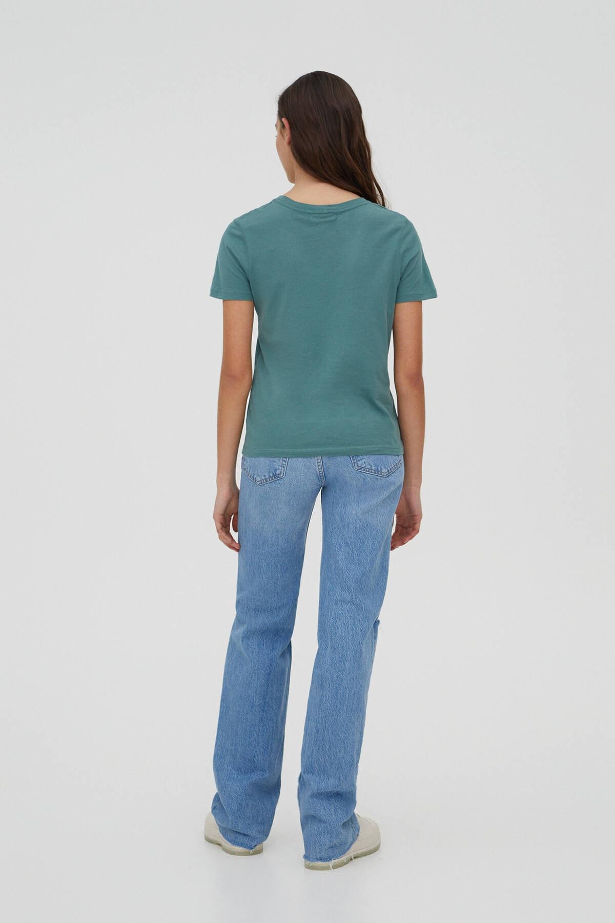 Pull & Bear Kadın Yeşil Basic Bisiklet Yaka T-Shirt 05244357 2