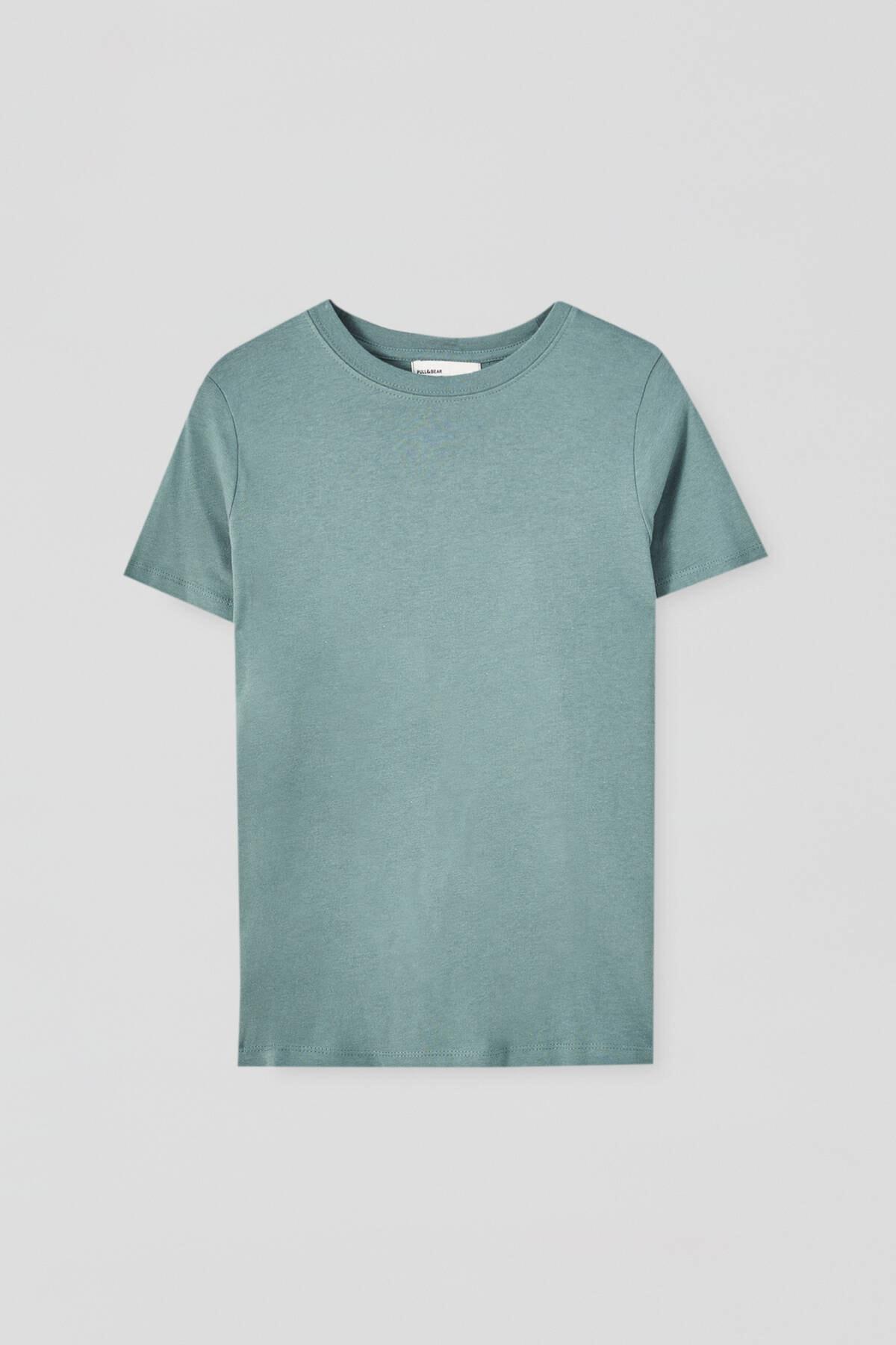 Pull & Bear Kadın Yeşil Basic Bisiklet Yaka T-Shirt 05244357 4