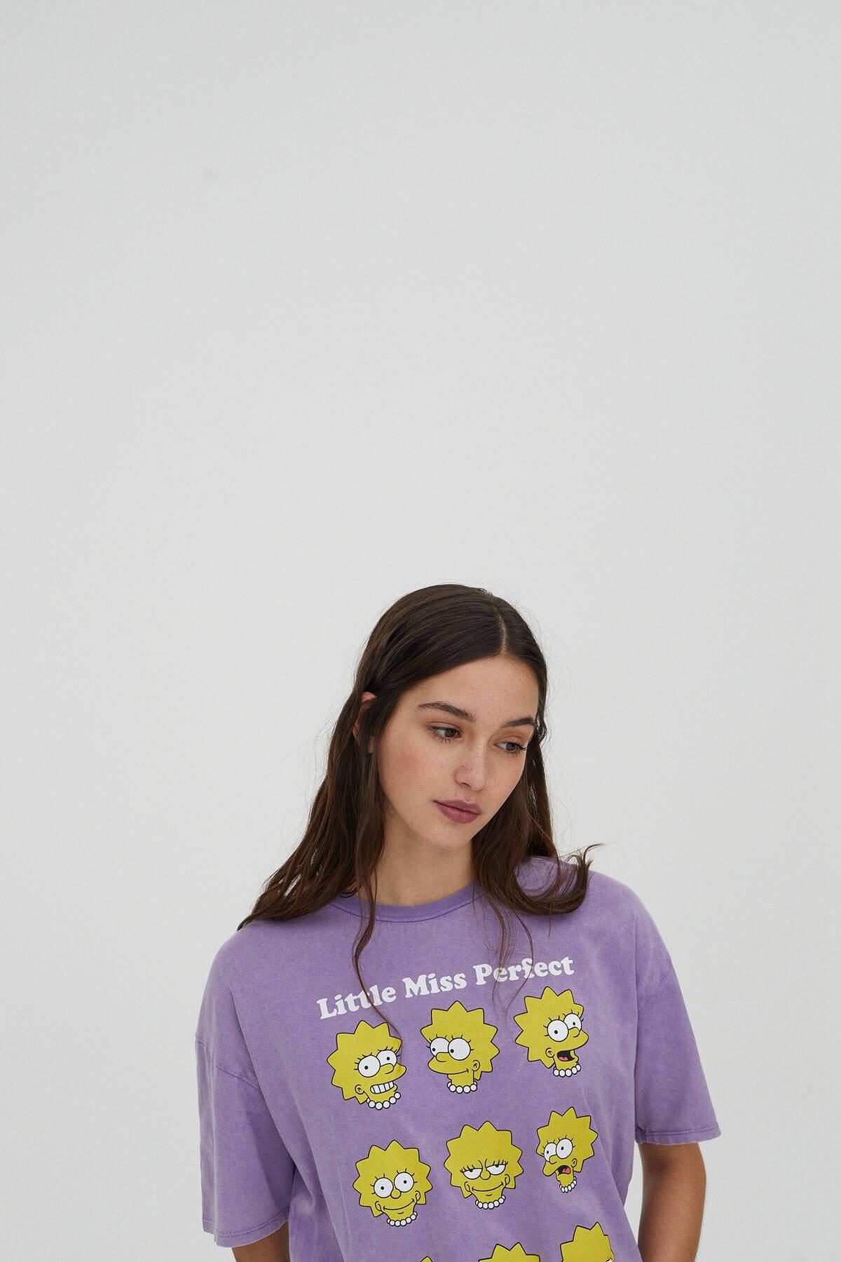 Pull & Bear Kadın Mor Lisa Simpson Görselli T-Shirt 04240372 3