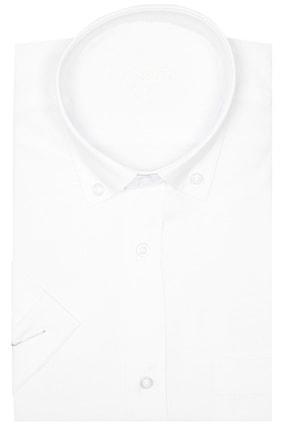 Picture of Erkek Beyaz Kısa Kol Büyük Beden Pamuk Saten Yaka Düğmeli Gömlek