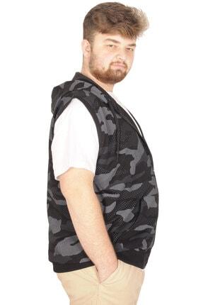 Modexl Battal Beden Erkek Camouflage Yelek 21250 Siyah 1