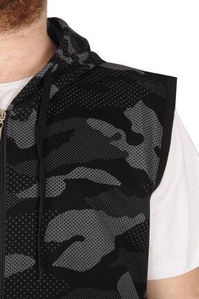 Modexl Battal Beden Erkek Camouflage Yelek 21250 Siyah 3