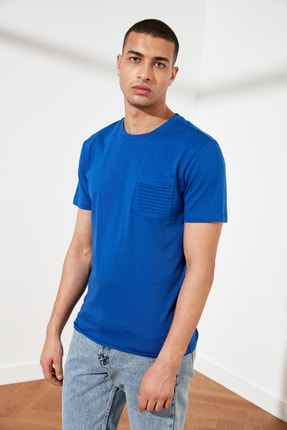 TRENDYOL MAN Saks Erkek Slim Fit Bisiklet Yaka T-Shirt TMNSS21TS0443 0
