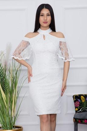 PULLIMM Kadın Ekru Dantel Kısa Elbise 13327 1