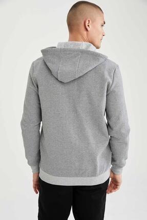 Defacto Slim Fit Kapüşonlu Fermuarlı Sweatshirt 3