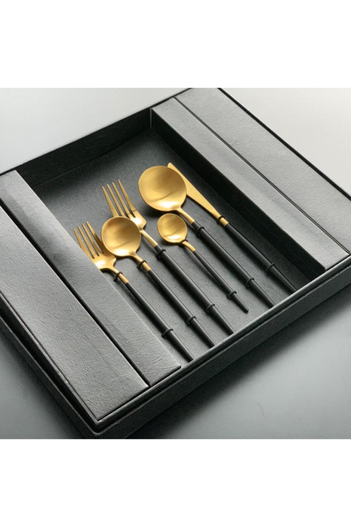Mat Altın-siyah Çkb Seti 6 Kişilik 36 Parça