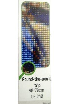 SEZZ Goblen Taşlı Boncuklu Mozaik Tablo Resim 48*70 Cm Round The World Trip 2