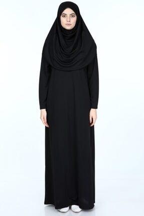 erva collection Kadın Siyah Başörtülü Pratik Namaz Elbisesi (Hediyeli) 0