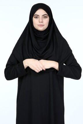 erva collection Kadın Siyah Başörtülü Pratik Namaz Elbisesi (Hediyeli) 1