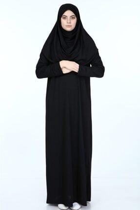 erva collection Kadın Siyah Başörtülü Pratik Namaz Elbisesi (Hediyeli) 2