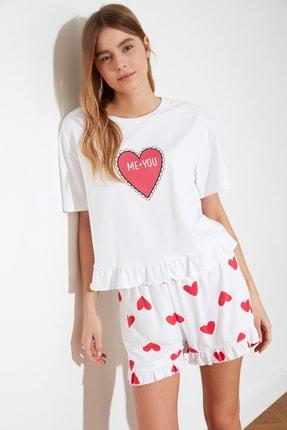 TRENDYOLMİLLA Kalp Baskılı Örme Pijama Takımı THMSS21PT0467 3