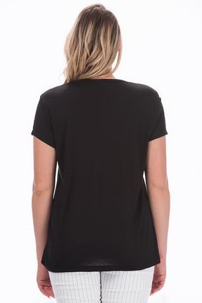 Şans Kadın Siyah V Yakalı Viskon Bluz 65N22538 1