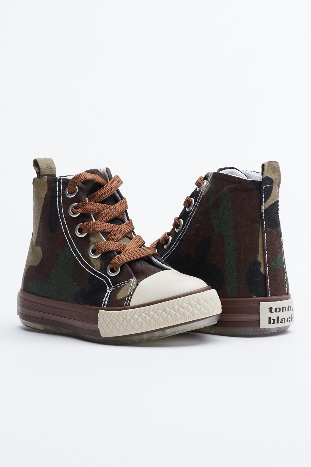 Tonny Black Haki Kamuflaj Çocuk Spor Ayakkabı Uzun Tb999 1