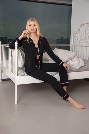 Huq Moda Kadın Siyah Pamuklu Likralı Biyeli Pijama Takımı 0