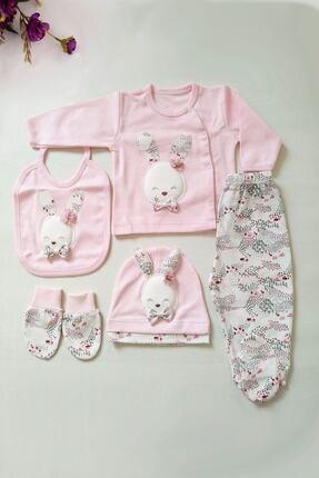Gaye Kız Bebek Pembe Pamuklu Tavşan Desenli Hastane Çıkışı 5li 0