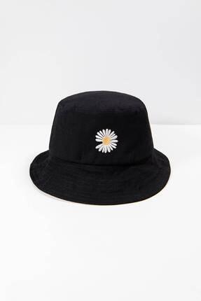 Addax Kadın Siyah Papatya Işlemeli Bucket Şapka Şpk1035 - F1 Adx-0000022885 1