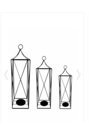 Bastonlu Dekoratif 3'lü Set Ferforje Kafes Fener Mumluk Kfs3 Kfs3 2