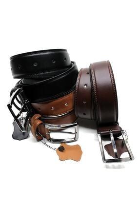 Cascades Leather 3 Adet Siyah , Kahve , Taba 3,5 Cm Derili Erkek Kumaş Pantolon Kemeri 1
