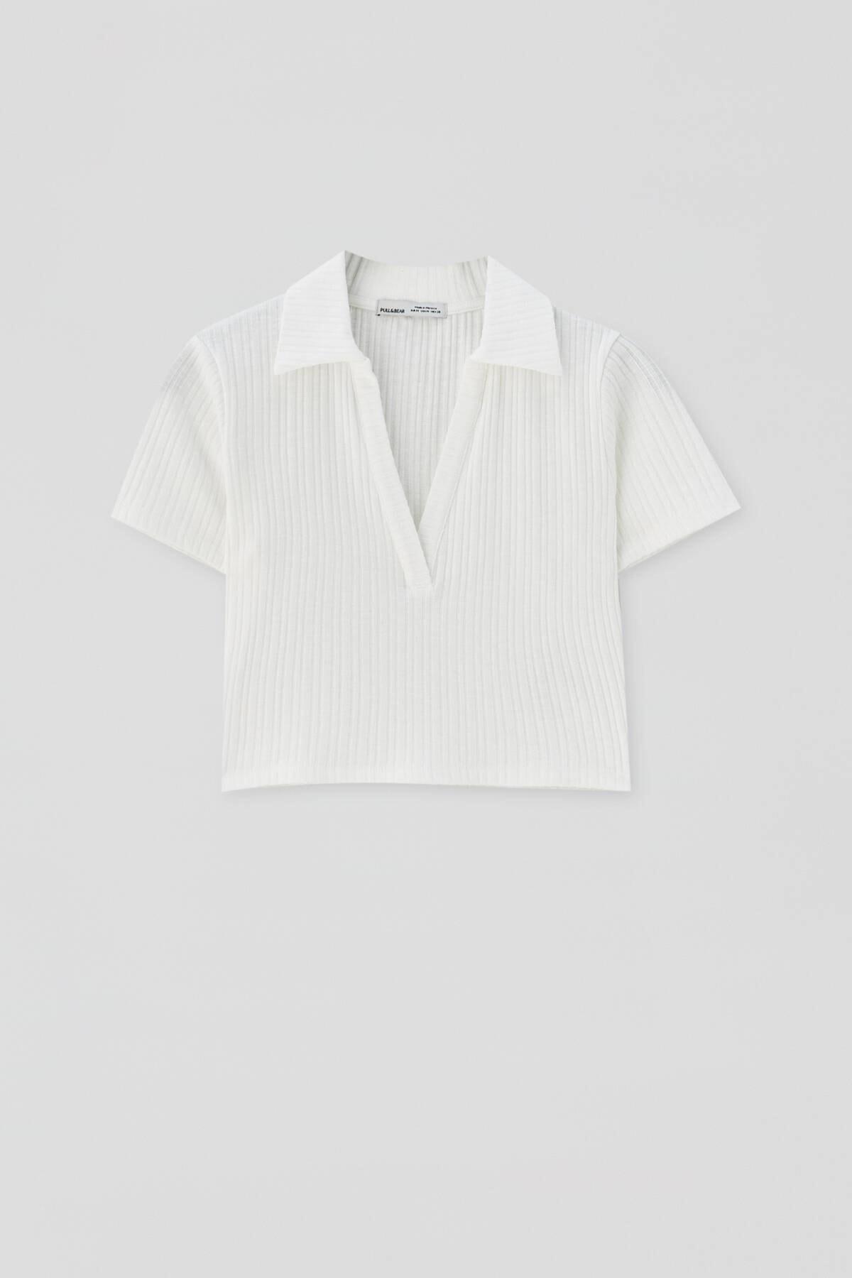 Pull & Bear Kadın  Buz Rengi V Yaka Polo T-Shirt 04240377 3