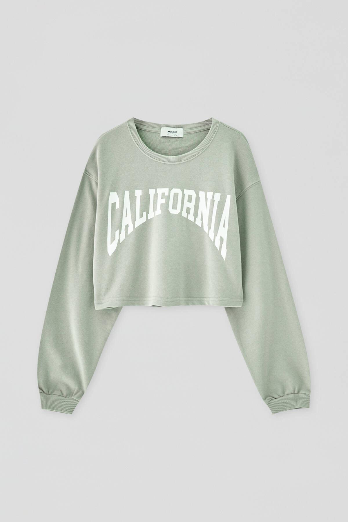 Pull & Bear Kadın  Açık Yeşil Kontrast Yazılı Sweatshirt 04591442 4