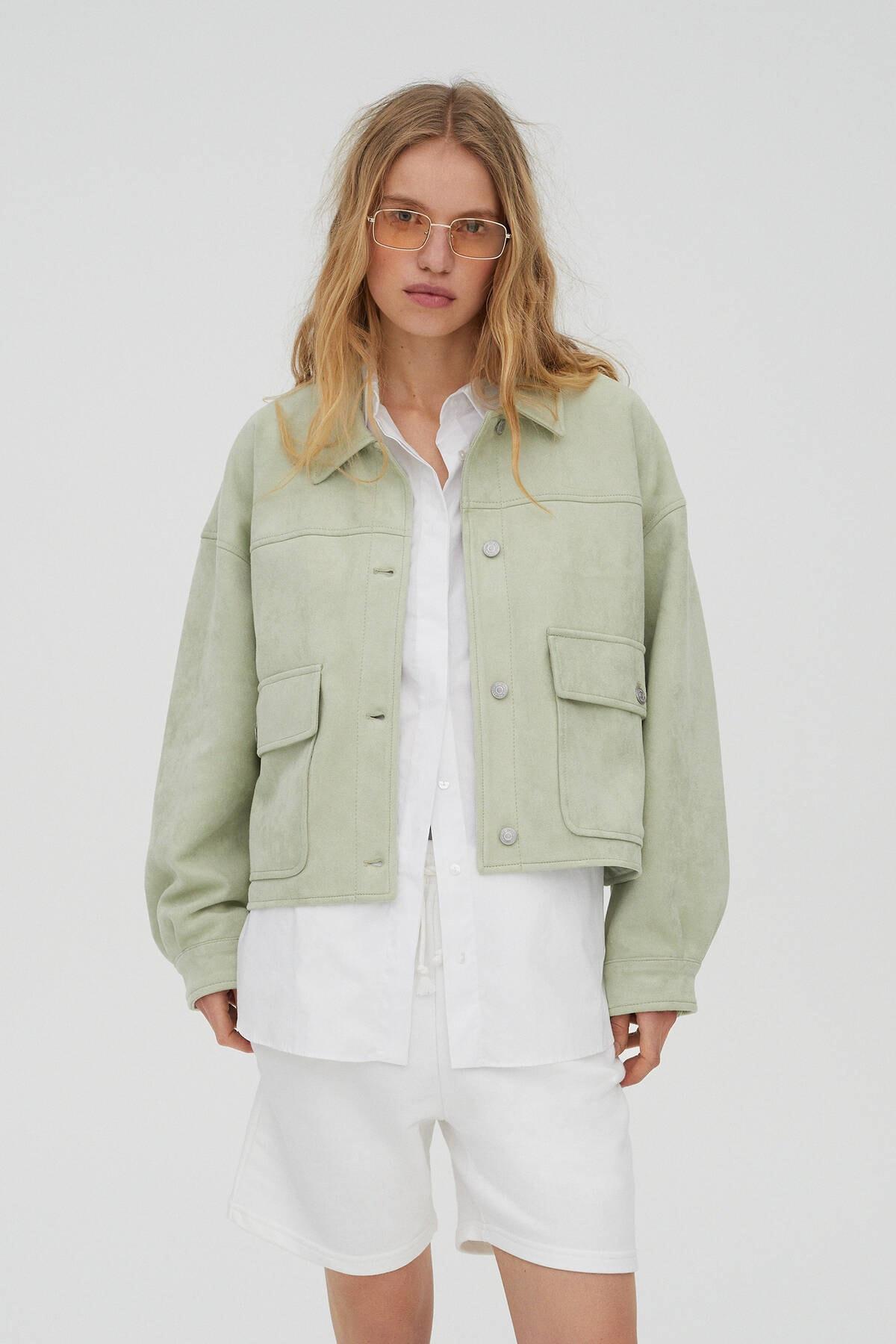 Pull & Bear Kadın  Açık Yeşil Crop Fit Suni Süet Ceket 04711315 0