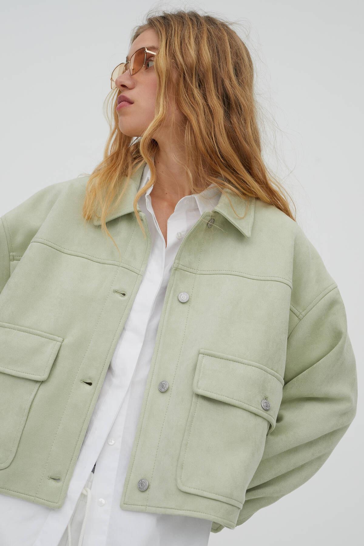Pull & Bear Kadın  Açık Yeşil Crop Fit Suni Süet Ceket 04711315 1