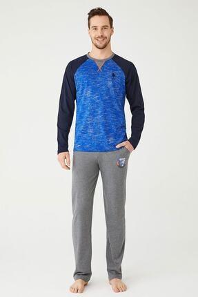US Polo Assn Erkek Sax Yuvarlak Yaka Pijama Takım 0