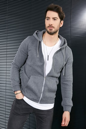 Sateen Men Erkek Antrasit Kanguru Cep Fermuarlı Sweatshirt 0