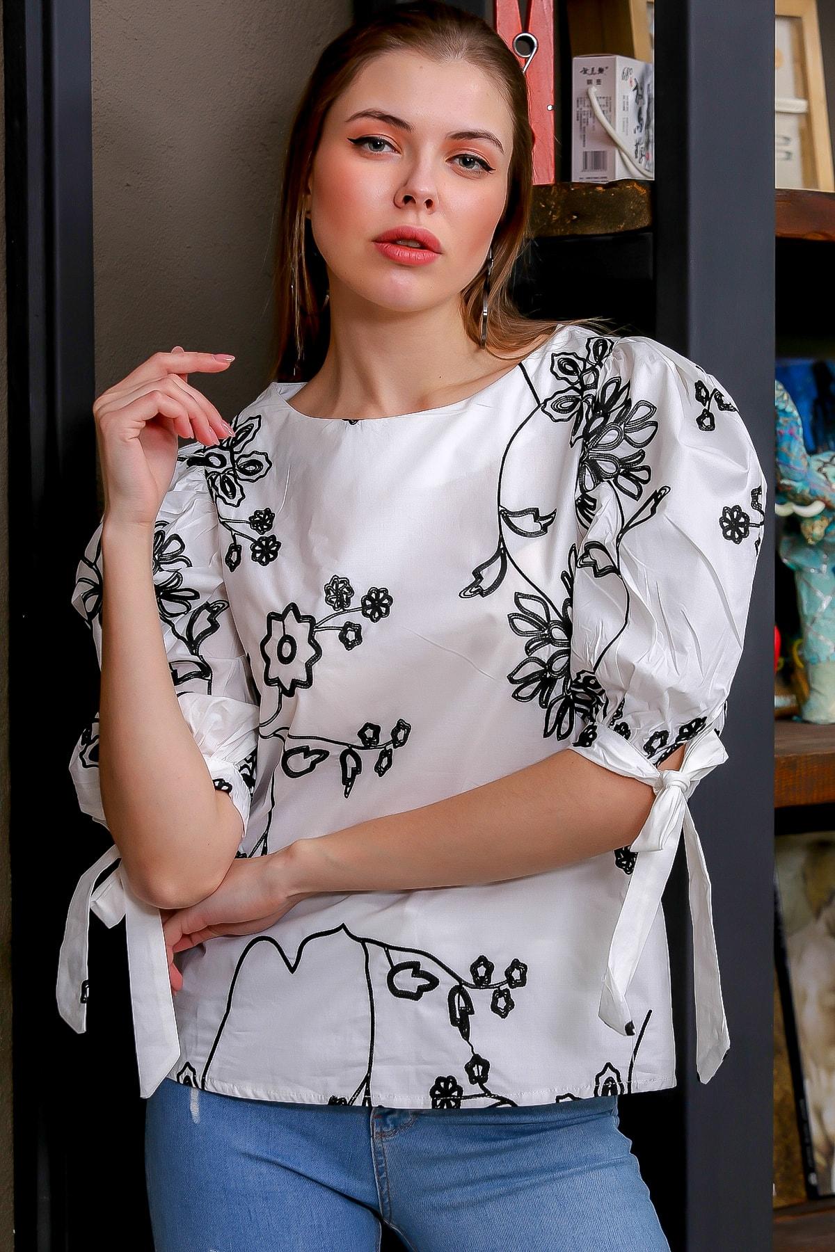 Chiccy Kadın Beyaz Bağlama Kol Detaylı Çiçek Nakışlı Sıfır Yaka Dokuma Bluz M10010200BL95616 0