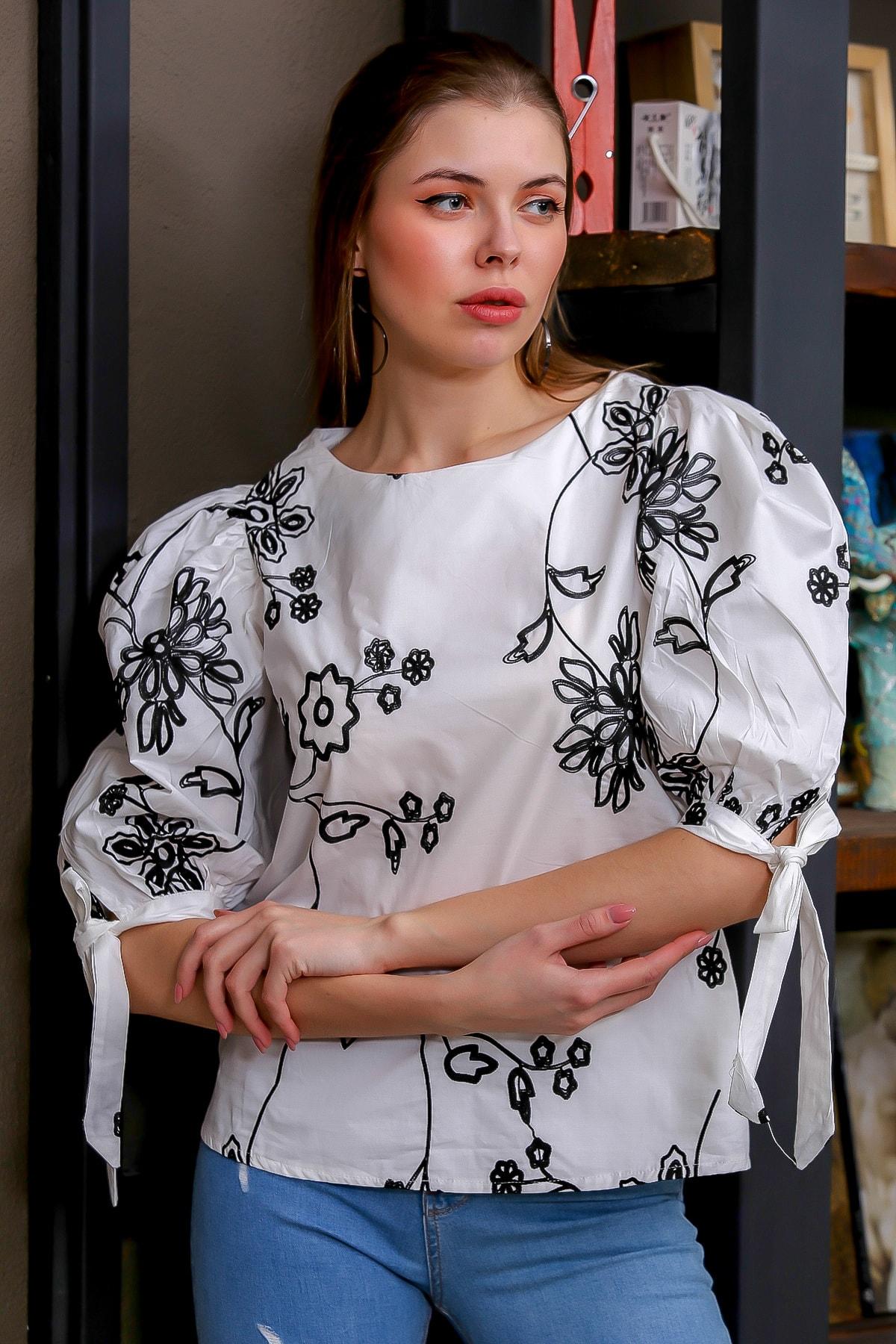 Chiccy Kadın Beyaz Bağlama Kol Detaylı Çiçek Nakışlı Sıfır Yaka Dokuma Bluz M10010200BL95616 1