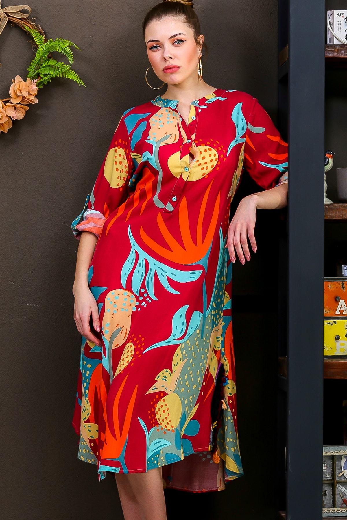 Chiccy Kadın Kiremit  Tropikal Desen Patlı Salaş Yanı Püskül Detay Yırtmaç Dokumaelbise M10160000EL95653 0