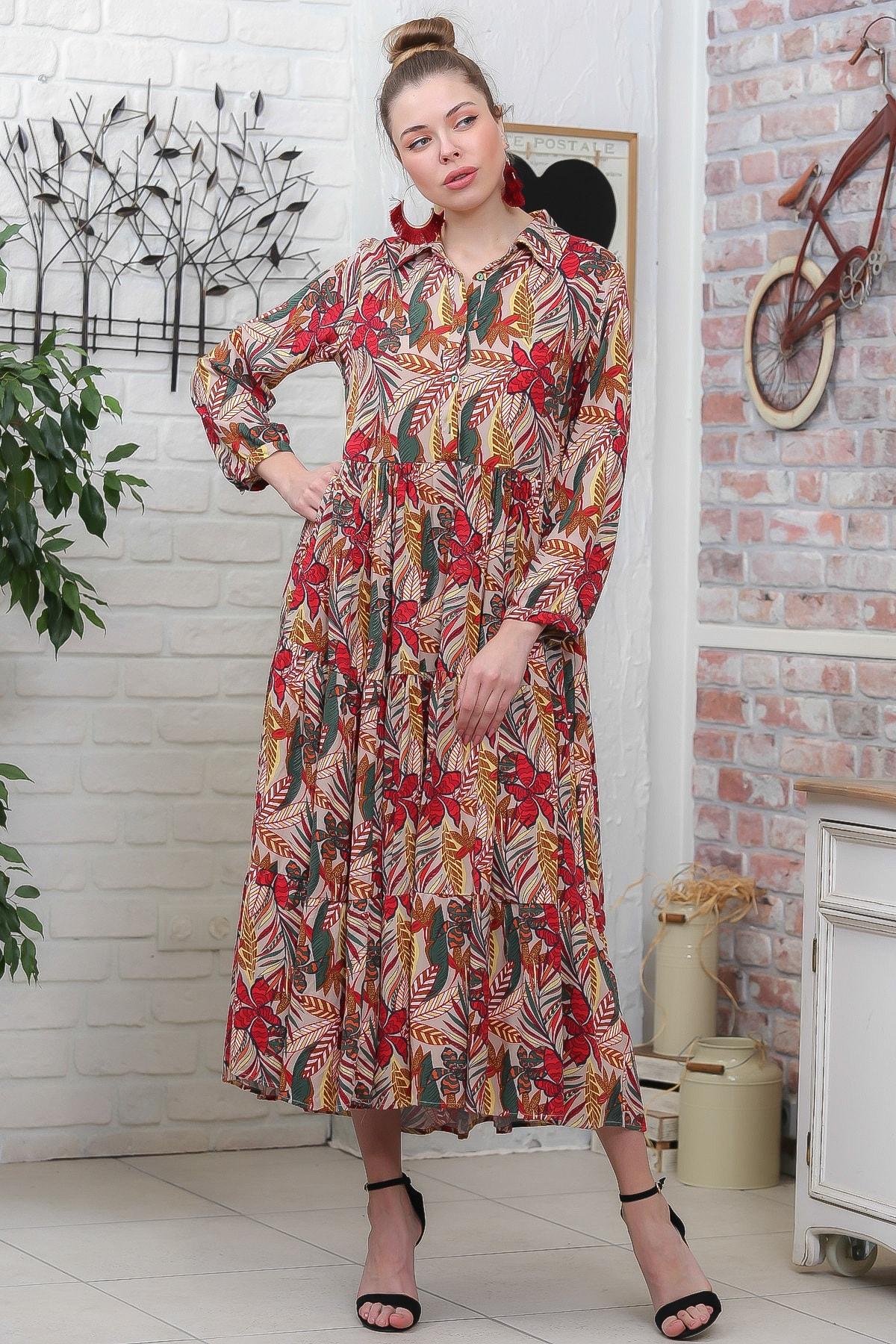 Chiccy Kadın Bej- Kırmızı Yaprak Desen Gömlek Yaka Düğmeli Cepli Kloş Dokuma Elbise M10160000EL95928 2