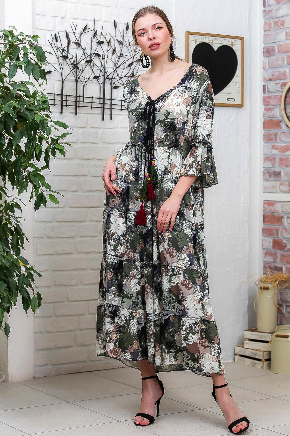 Chiccy Kadın Yeşil-Krem Suluboya Çiçek Desenli Püskül Bağcıklı Kat Kat Salaş Uzun Elbise M10160000EL95621 1