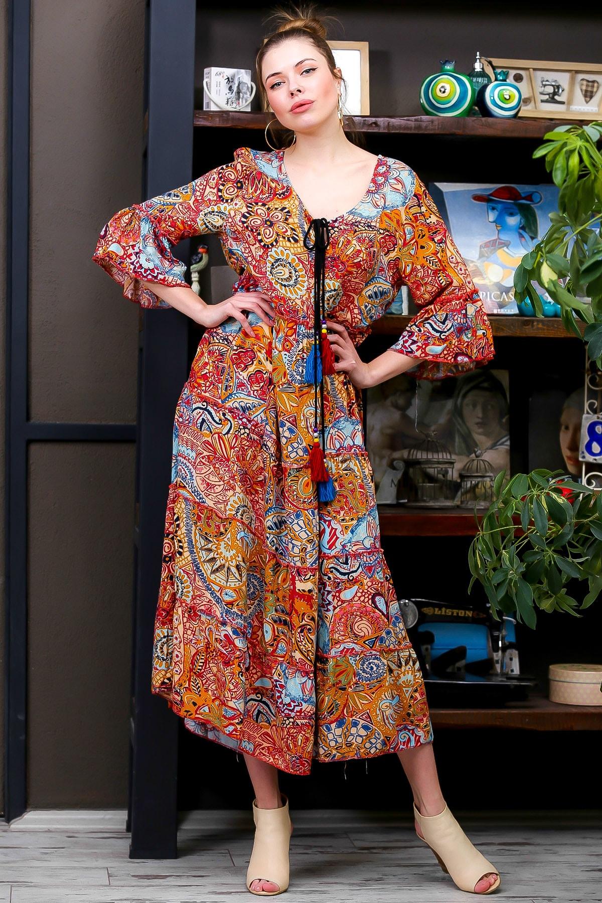 Chiccy Kadın Kiremit  Ottoman Desenli Püskül Bağcıklı Kat Kat Salaş Uzun Elbise M10160000EL95626 1