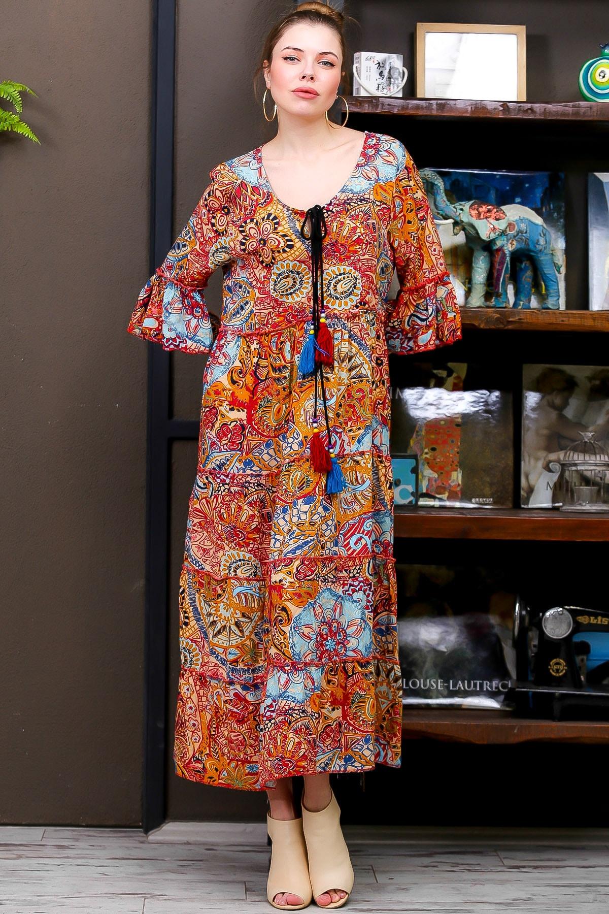 Chiccy Kadın Kiremit  Ottoman Desenli Püskül Bağcıklı Kat Kat Salaş Uzun Elbise M10160000EL95626 2