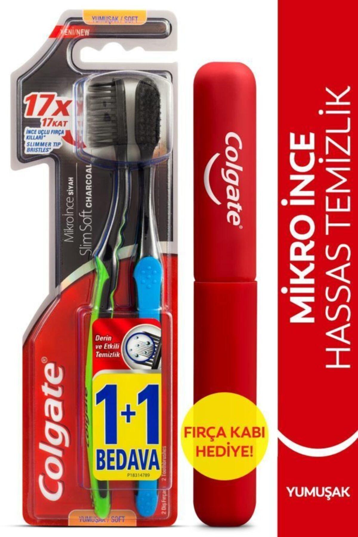 Mikro Ince Siyah Hassas Temizlik Yumuşak Diş Fırçası 1+1 + Diş Fırçası Kabı Hediye