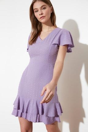 TRENDYOLMİLLA Lila Dokulu Kumaşlı Volanlı Elbise TWOSS21EL1531 2
